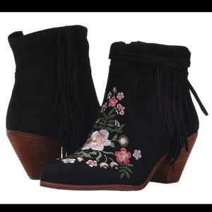 Sam Edelman floral suede embroidered boots booties